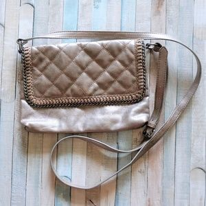AE Metallic Faux Leather Quilted Cross Body Bag